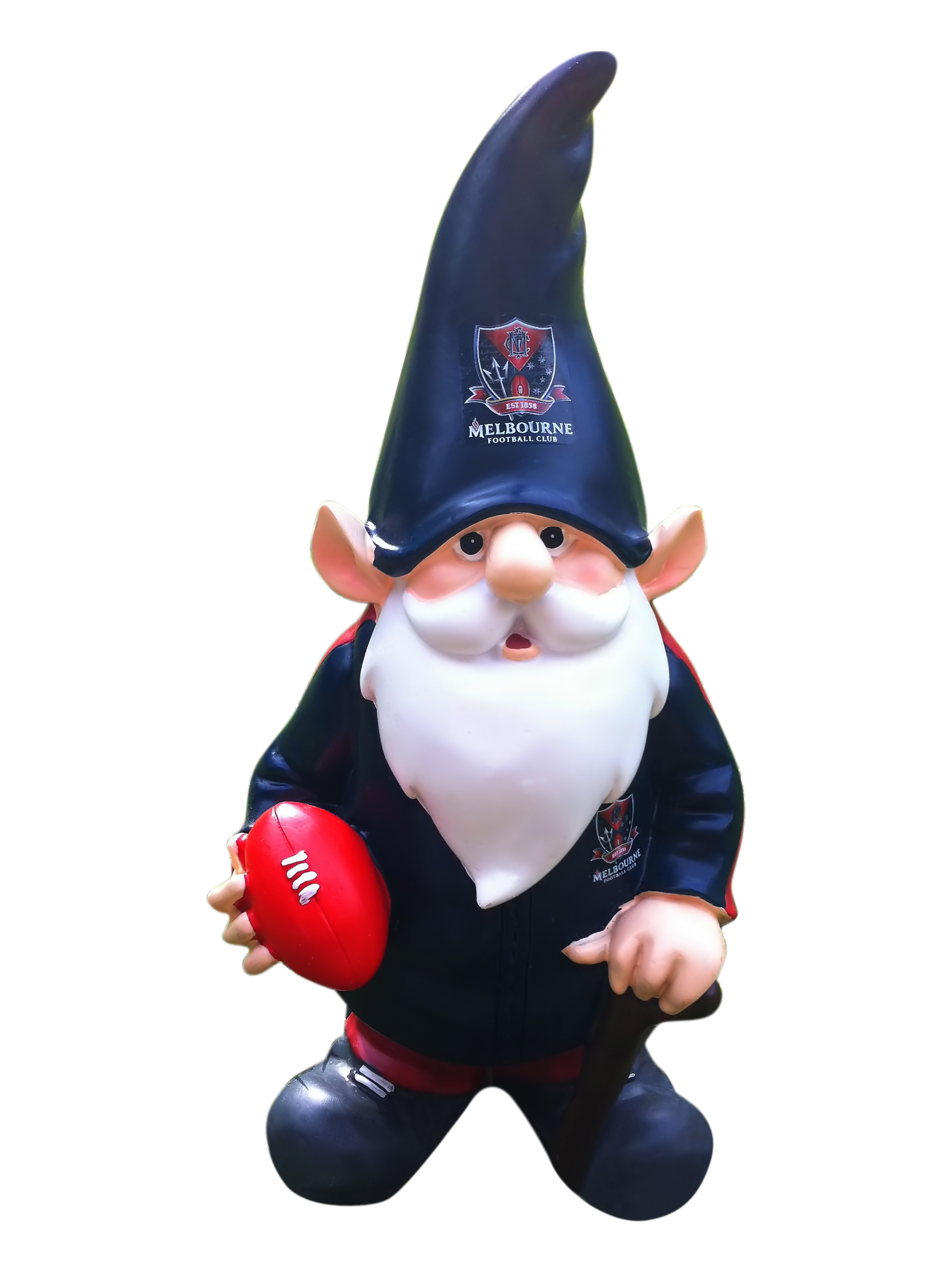 Melbourne-Demons-AFL-Trackie-Wearing-Garden-Gnome-With-Walking-Cane