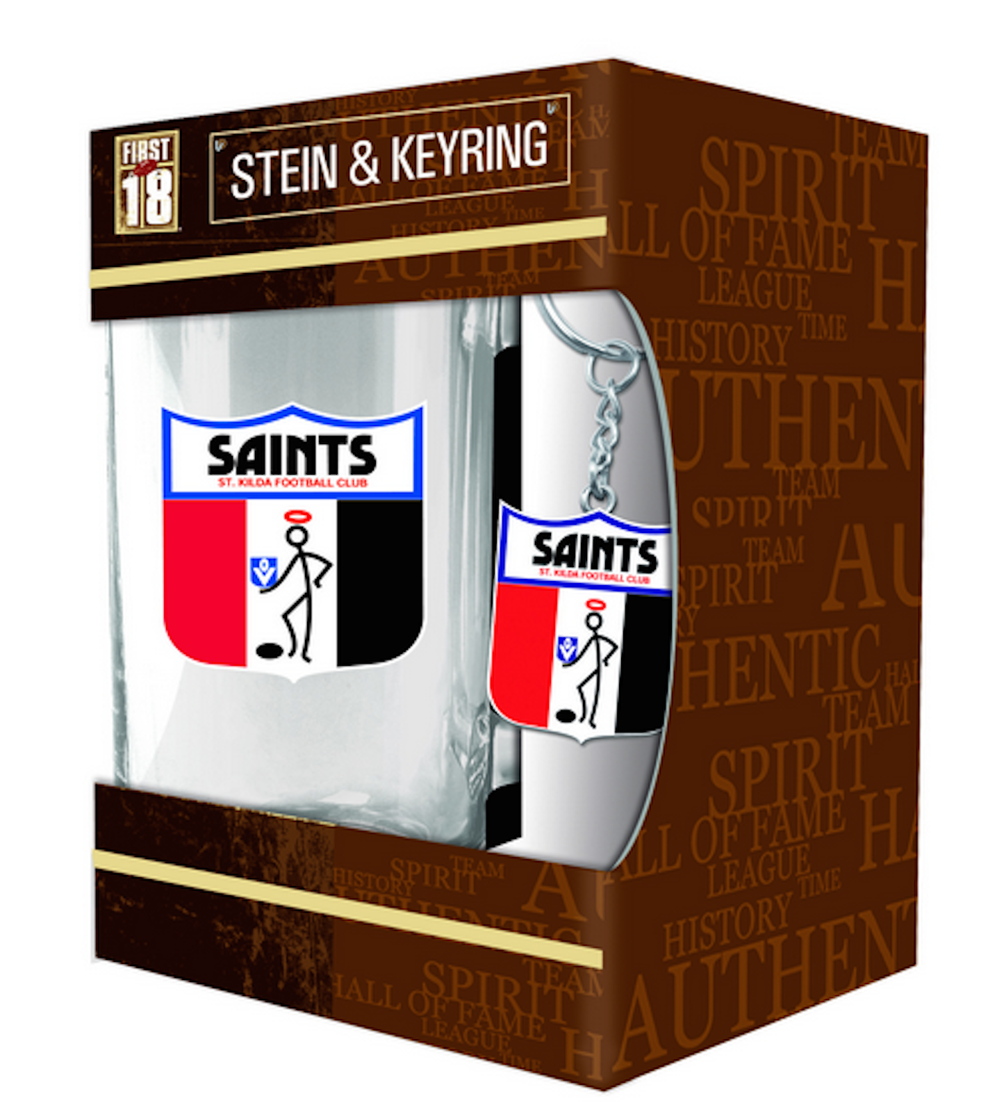 St Kilda Saints Afl Heritage Logo Design Stein And Keyring Gift Set