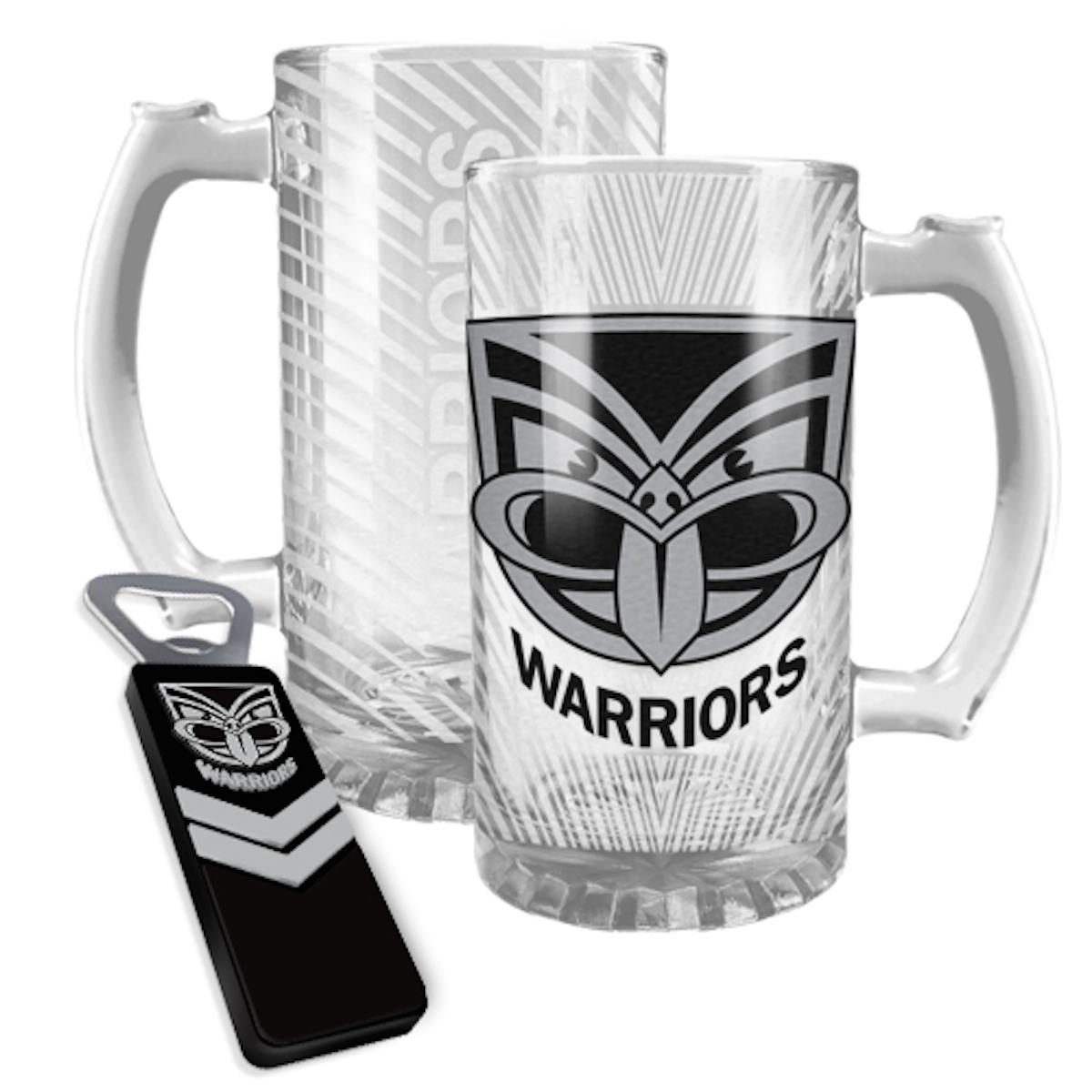 new zealand warriors nrl 500mls beer stein and magnetic bottle opener pack. Black Bedroom Furniture Sets. Home Design Ideas