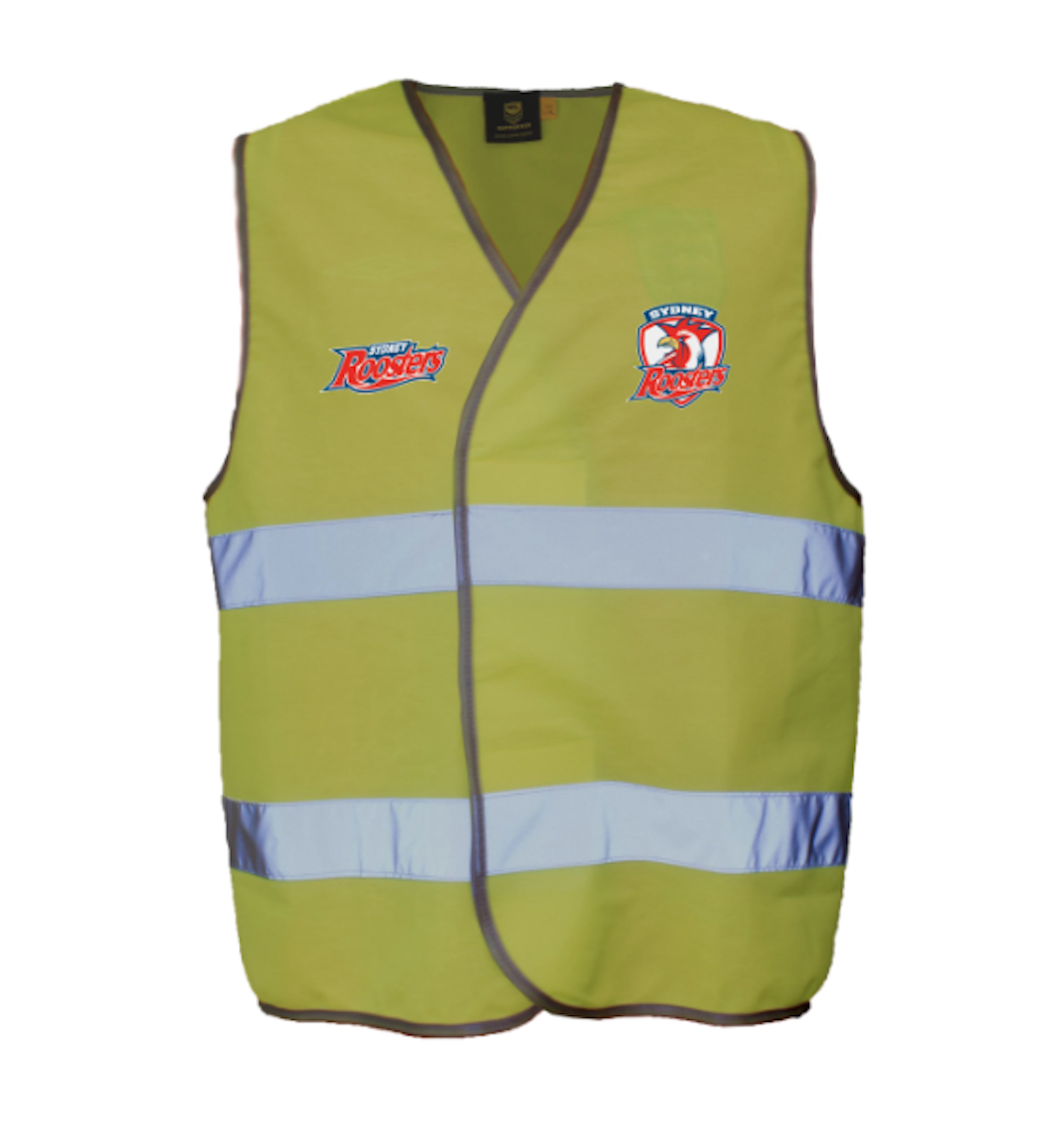 Sydney-Roosters-NRL-Hi-Viz-Yellow-Safety-Vest-with-Reflective-Tape-L-XL