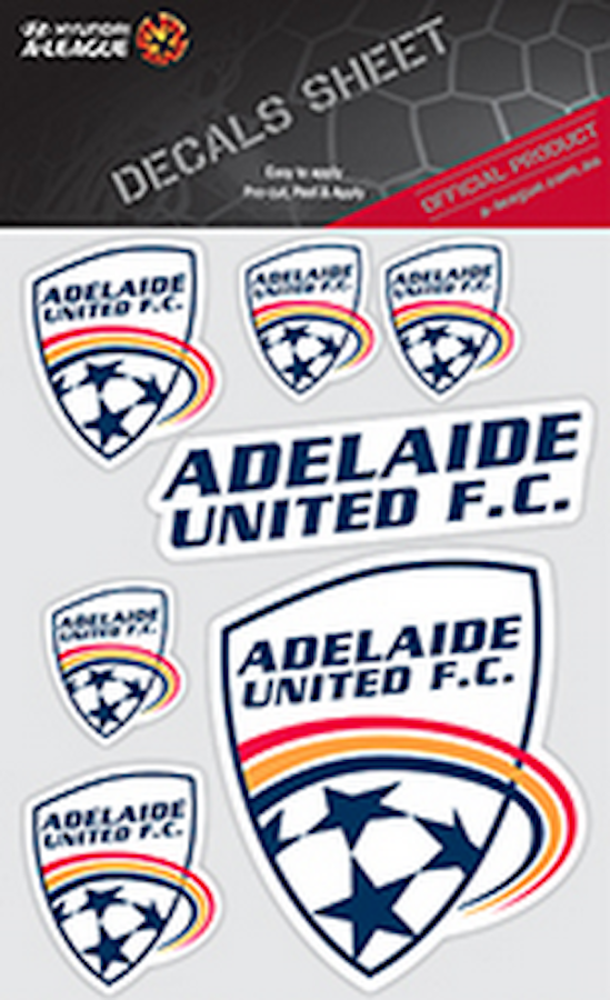 Adelaide united fc a league uv car decals 7 stickers per sheet