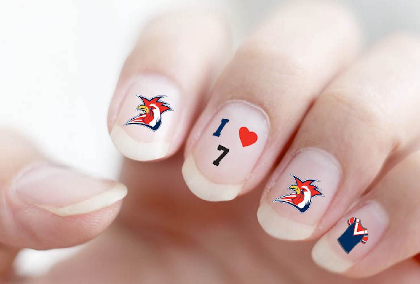 Sydney roosters nrl nail art decal stickers gel or polish ebay sydney roosters nrl nail art decals prinsesfo Gallery
