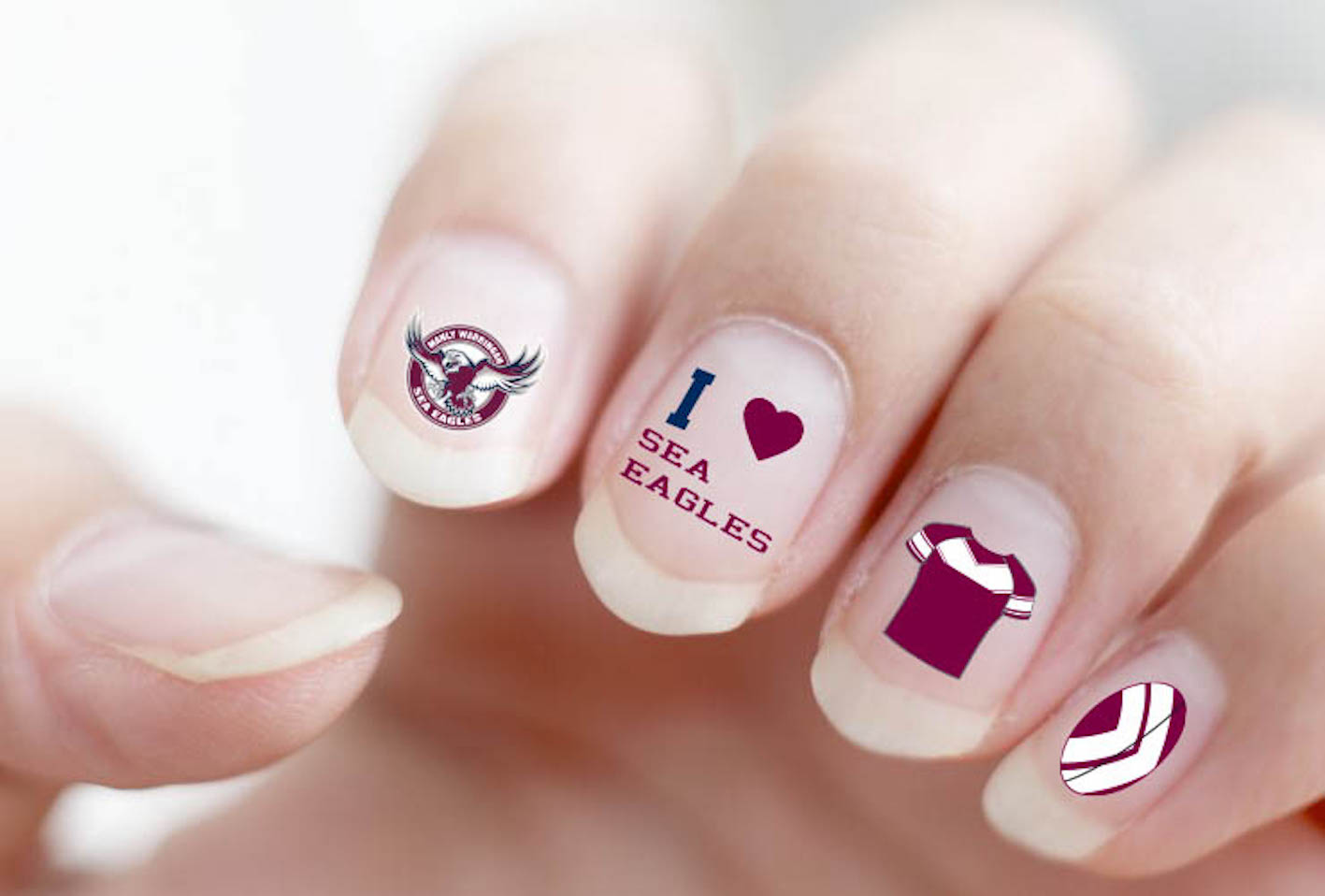 Manly Sea Eagles NRL Nail Art Decal Stickers Gel or Polish ...