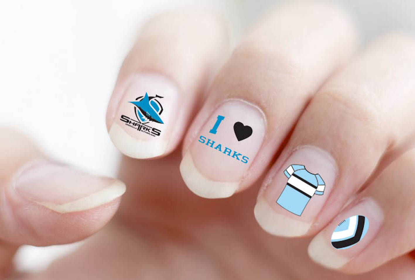 Cronulla Sharks NRL Nail Art Decal Stickers Gel or Polish ...