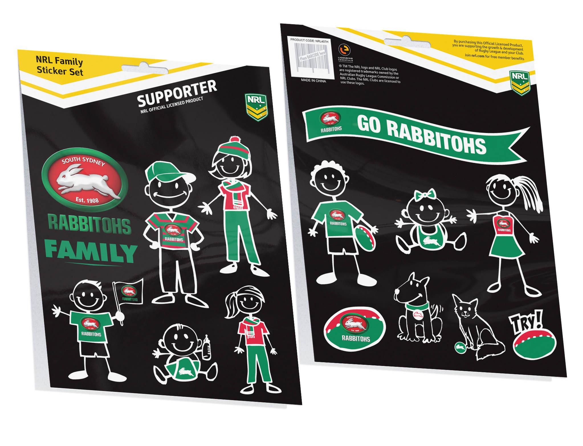 South Sydney Rabbitohs Nrl My Footy Family Sticker Sheet