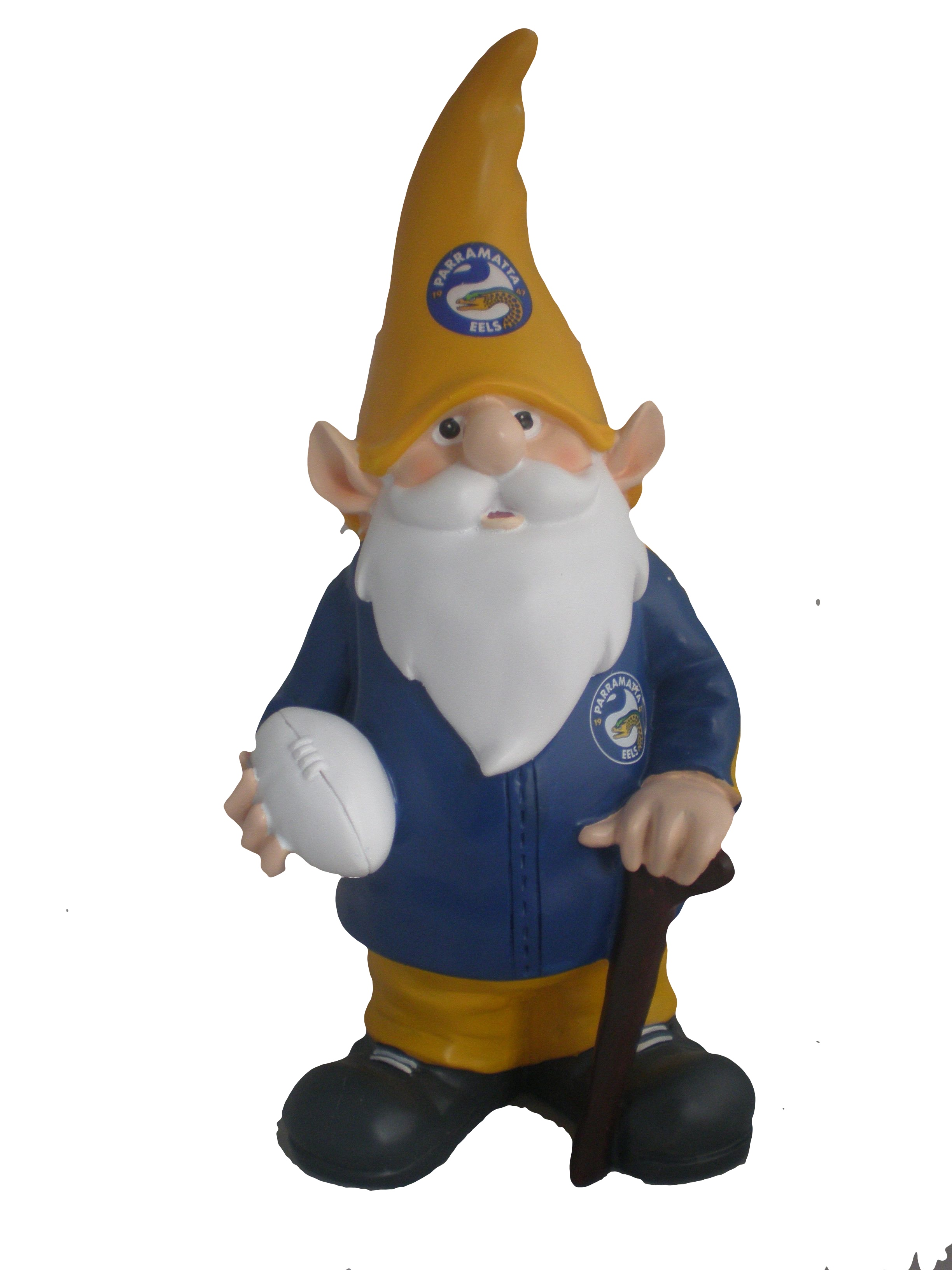 Parramatta Eels Nrl Trackie Wearing Garden Gnome With Walking Cane Ebay